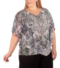 ny collection plus size printed studded top