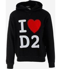 dsquared2 designer sweatshirts, heart d2 black cotton men's hoodie