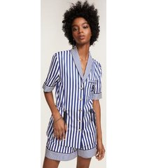 tommy hilfiger women's striped short sleeve crest pajama shirt surf the web stripe - 12