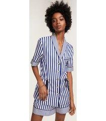 tommy hilfiger women's striped short sleeve crest pajama shirt surf the web stripe - 12
