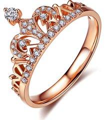 rose gold crown ring, princess crown ring with cz, tiara ring
