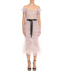 women's marchesa ruffle off the shoulder tulle cocktail dress, size 10 - grey