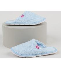 pantufa slipper de pelo infantil molekinha azul claro