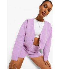 crop top cardigan en shorts set, mauve