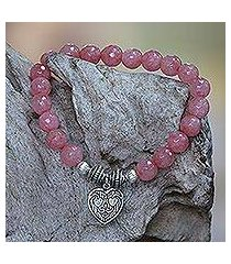 agate beaded stretch bracelet, 'sentimental charm' (indonesia)