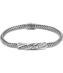 'lahar' diamond silver medium station bracelet