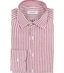 camicia da uomo su misura, albini, righe rosse lino, primavera estate | lanieri