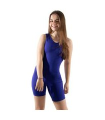 macaquinho 4 estações fitness feminino curto costas abertas liso regata esporte azul roial