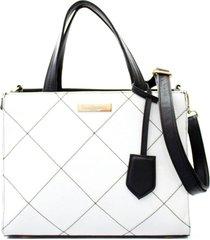 bolsa feminina maria verônica quadrada matelassê branca com preto