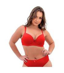 1 sutiã plus size reforçado cor lisa soutien bojão lingerie vermelho