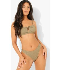 mix & match gekreukeld string bikini broekje, light khaki