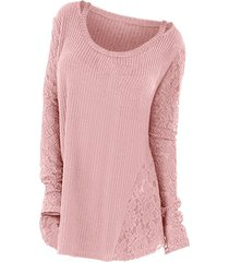 plus size long sleeves lace panel cutout tee