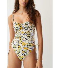 mango gathered print swimsuit