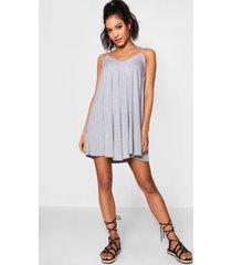 basic swing jurk met v-hals, grijs gemêleerd