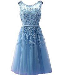 kivary sheer bateau tea length short lace prom homecoming dresses sky blue us 12