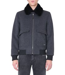 off-white aviator jacket with shearling collar