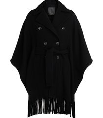 pinko black cape coat with fringes