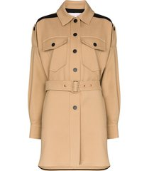 see by chloé belted single breasted coat - brown
