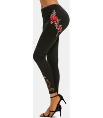 lace panel buttoned flower applique skinny pants