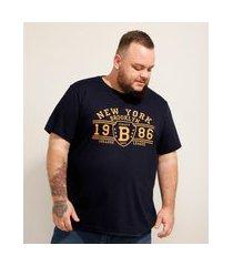 """camiseta de algodão plus size new york"""" manga curta gola careca azul marinho"""""""