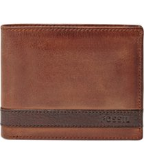 fossil quinn bifold with flip id leather wallet