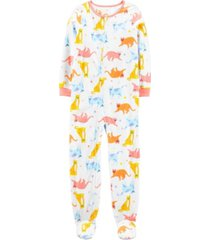 carter's big girl 1-piece cat fleece footie pjs
