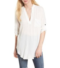 women's all in favor perfect henley tunic, size large - ivory