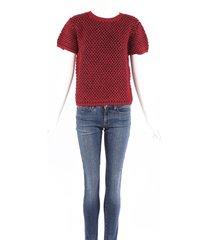 julien david red blue wool knit short sleeve sweater blue/red sz: l