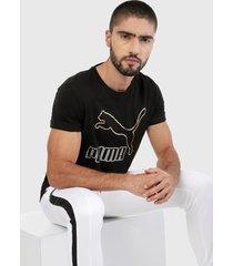 camiseta negro-dorado puma classics
