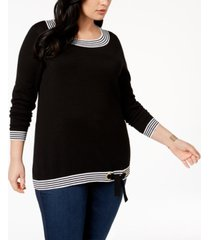 belldini plus size boat-neck side-tie sweater