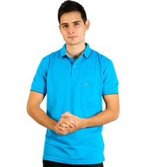 camiseta tipo polo azul turquesa hamer bolsillo bordado