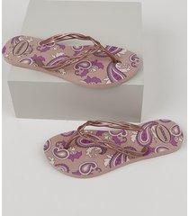 chinelo feminino havaianas flash sweet royal estampado paisley rosê