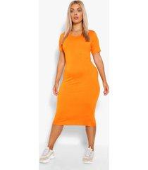 plus jersey midi jurk met kapmouwen, orange