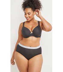 lane bryant women's cotton high-leg brief panty with wide waistband 26/28 black