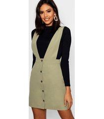 plunge front button pinafore dress, khaki