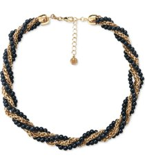 "charter club gold-tone chain & colored imitation pearl bead twist multi-row collar necklace, 17"" + 2"" extender, created for macy's"