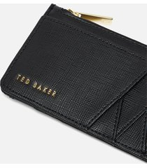 ted baker women's kennet diagonal zipped credit card holder - black