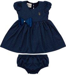 vestido gorette the cat mangas balonê e tapa fraldas azul