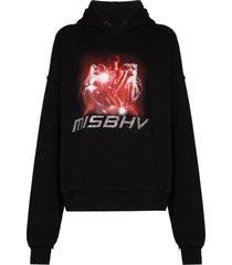misbhv 2001 crystal-embellished hoodie - black