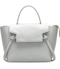 celine belt leather satchel blue, light blue sz: m