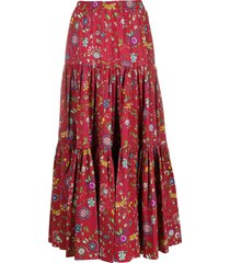 la doublej floral print full skirt - red