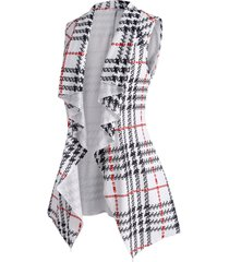 plus size plaid waterfall draped belted vest