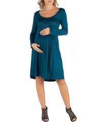 24seven comfort apparel knee length pleated long sleeve maternity dress