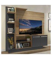 "estante c/ painel tv 55"" e 2 portas denver multimóveis rustic/grafite"