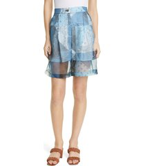 women's staud admiral print walking shorts, size 10 - blue