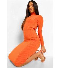petite geribbelde midi jurk met hoge hals en open rug, tangerine