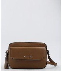 bolsa feminina transversal pequena com bolso e tassel caramelo