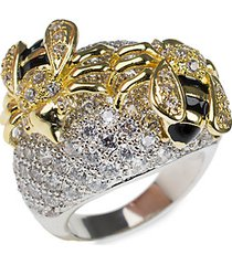 18k goldplated, rhodium-plated & crystal bee dome band ring