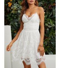 blanco lowcout con cuello en v y espalda cruzada mini slip delicado de encaje transparente vestido