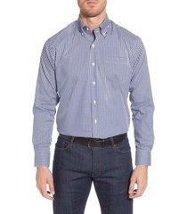 men's peter millar crown soft gingham regular fit shirt, size small - blue